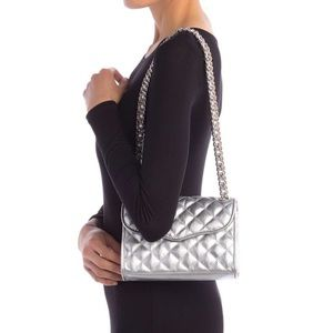 NWT Rebecca Minkoff quilted silver crossbody purse